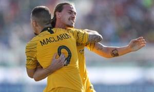 Jamie Maclaren celebrates his goal with teammate Jackson Irvine