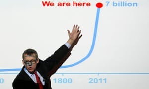 Hans Rosling gives a presentation outlining key innovations needed during 2012 to tackle global challenges such as disease and poverty, during an event at the London School of Economics, central London, in 2012.
