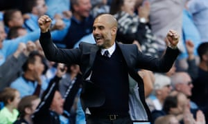 Pep Guardiola celebrates as Sunderland's Paddy McNair scores an own goal to give City the win.