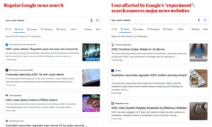 Comparison of two searches, one with Google's restriction on major Australian news sites