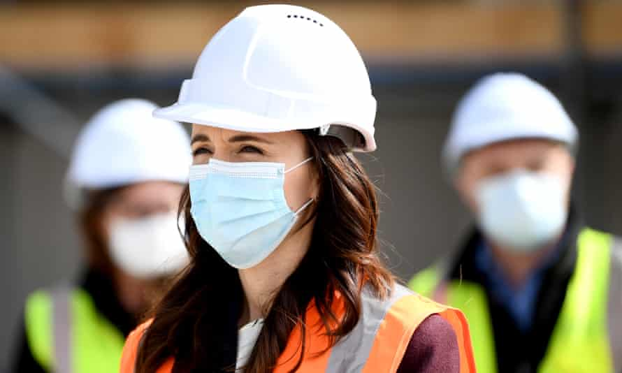 New Zealand's prime minister, Jacinda Ardern, wears a mask during a visit to the Kainga Ora housing development on 31 August 2020 in Auckland, New Zealand.