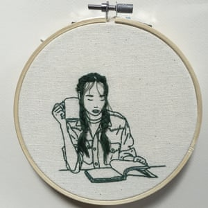 Work by the Malaysian born model and embroidery artist Sheena Liam.