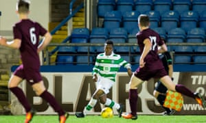 13-year-old Karamoko Kader Dembele in action for Celtic's under-20s at Cappielow Park.
