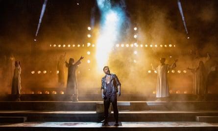 Shrinking in horror ... Ricardo Afonso as Judas in Jesus Christ Superstar.