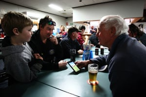 76 year old retired truck driver Bob Fall, shares stories with other truck drivers at the Jerilderie Sports Club upon arrival in Jerilderie. Bob donated his time for the 2,500km round trip from Muswellbrook with life friend and trucking comrade of 40 years, Len Kelmen.