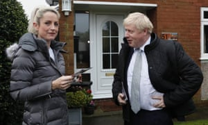 Boris Johnson on the campaign trail chats with a voter in Mansfield, Notts, yesterday.