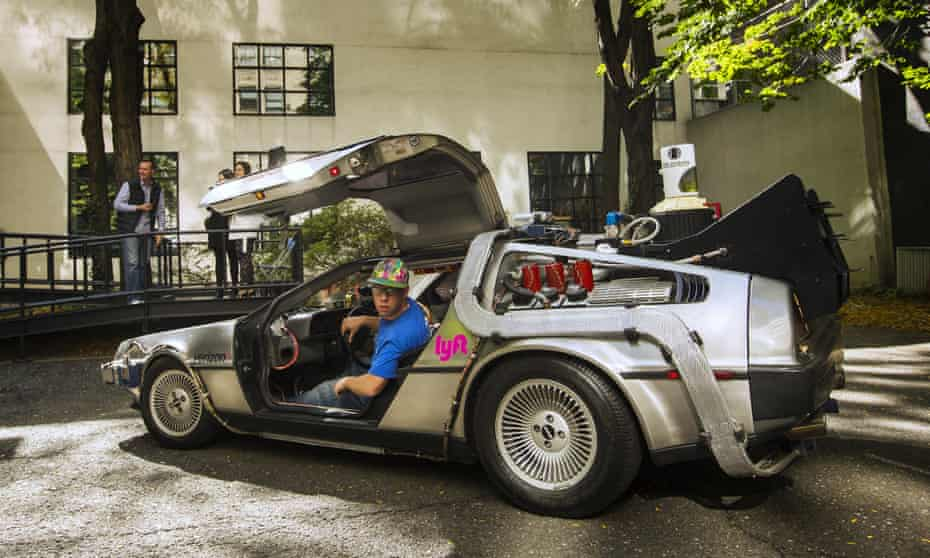 A Lyft promotion using a Back to the Future-style DeLorean car in New York in 2015.