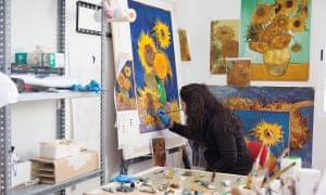 Van Gogh's Vase with Sunflowers being re-created in Factum Arte's lab.