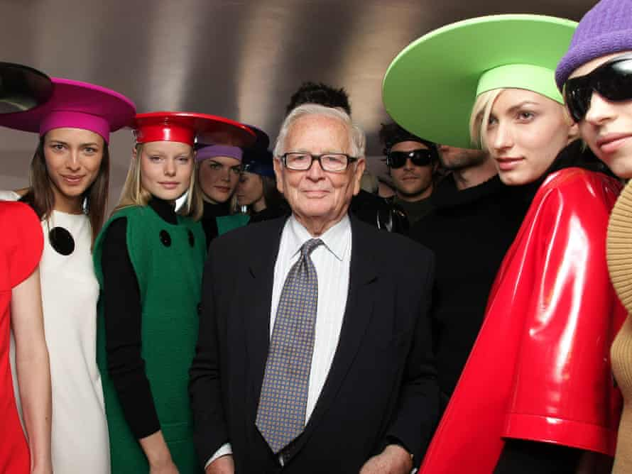 Pierre Cardin and models in his Bubble Palace in Theoule sur mer, France, in October 2008.