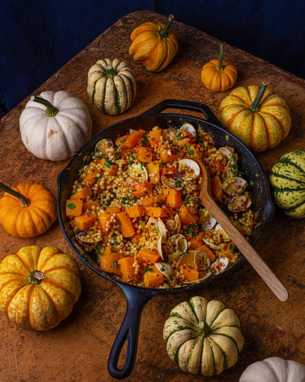 The future is orange: pumpkin, fregola, vongole and ginger.
