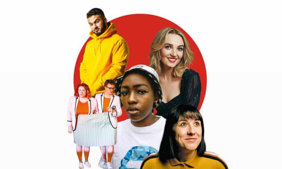 Clockwise from top left: Kae Kurd; Chloe Fineman; Maisie Adam; Elsa Majimbo; The Delightful Sausage.