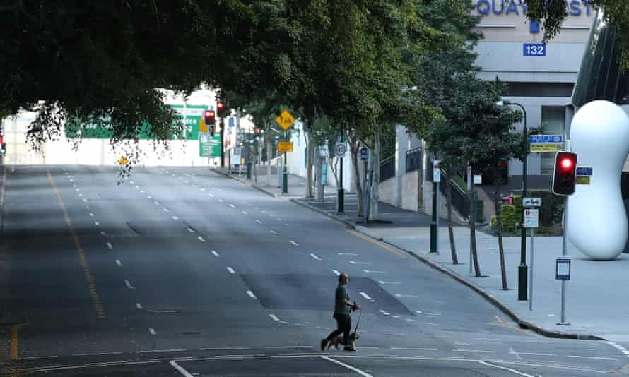 A near-deserted Brisbane city centre after it went into lockdown at the weekend.