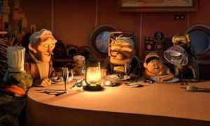 Christopher Plummer voiced explorer Charles Muntz (back left, Edward Asner voiced Carl Fredricksen and Jordan Nagai voiced Russell in Up, 2009