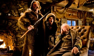 Kurt Russell, left, Jennifer Jason Leigh and Bruce Dern, in a scene from The Hateful Eight (2015), directed by Quentin Tarantino, for which Ennio Morricone won an Oscar for best original score.