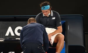 Raonic receiving treatment during his fourth round match Australian Open Tennis, Day Seven, Melbourne Park, Australia - 14 Feb 2021