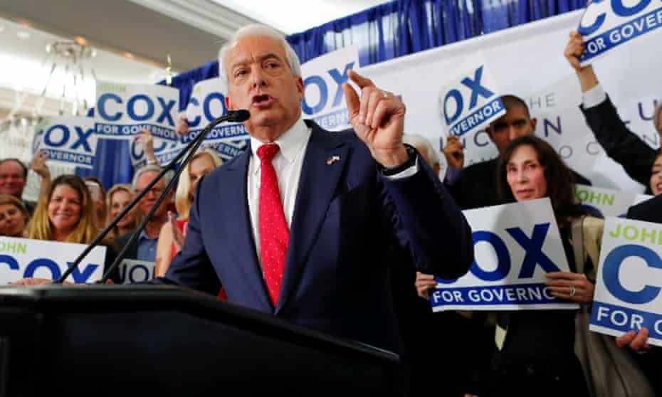 Republican gubernatorial candidate John Cox speaks in San Diego, California.