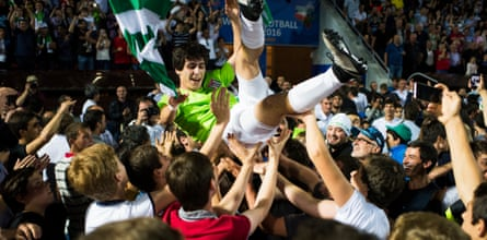 Abkhazia football team's Shabat Logua celebrates his team's victory over Panjab in the alternative World Cup final