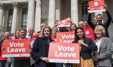 Priti Patel (centre right) and Penny Mordaunt (centre left) with Vote Leave supporters in Portsmouth