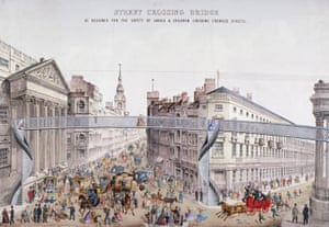 A proposed design for a footbridge in the City of London, designed for the safety of ladies and children crossing crowded streets