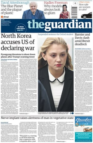 Guardian front page, Tuesday 26 September 2017