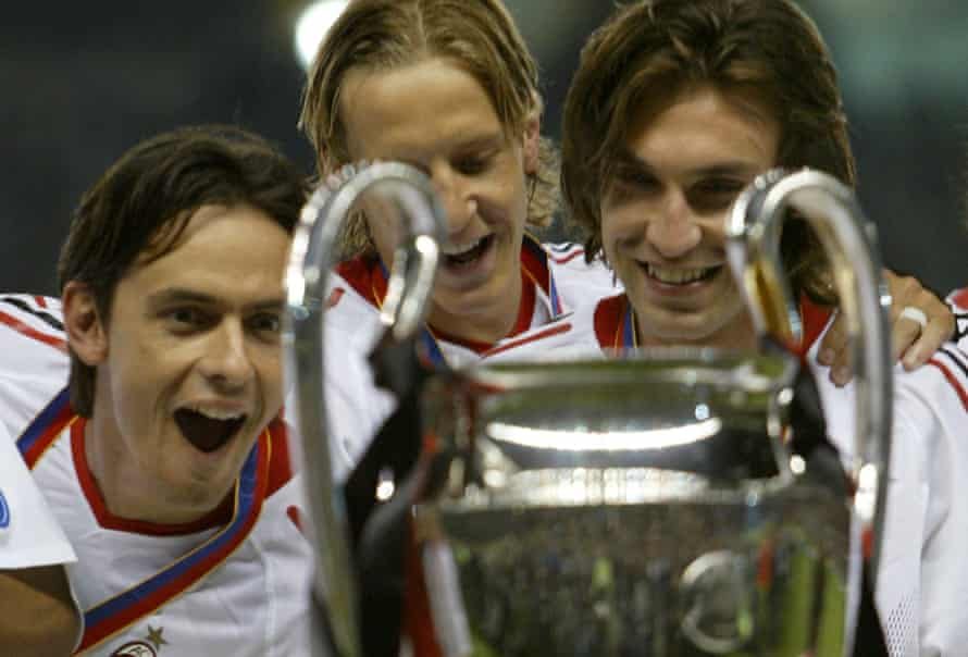 Pirlo winning the European Cup with Milan in 2007.