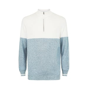 white and pale blue panelled New Look jumper