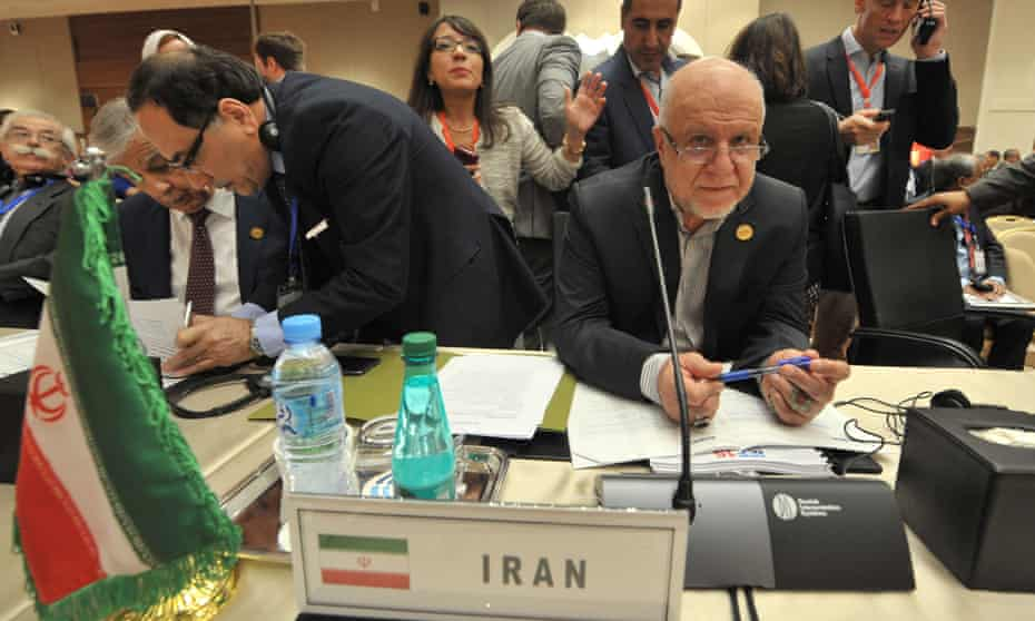 Iran's oil minister, Bijan Zanganeh, right, at the International Energy Forum in Algiers on Tuesday.