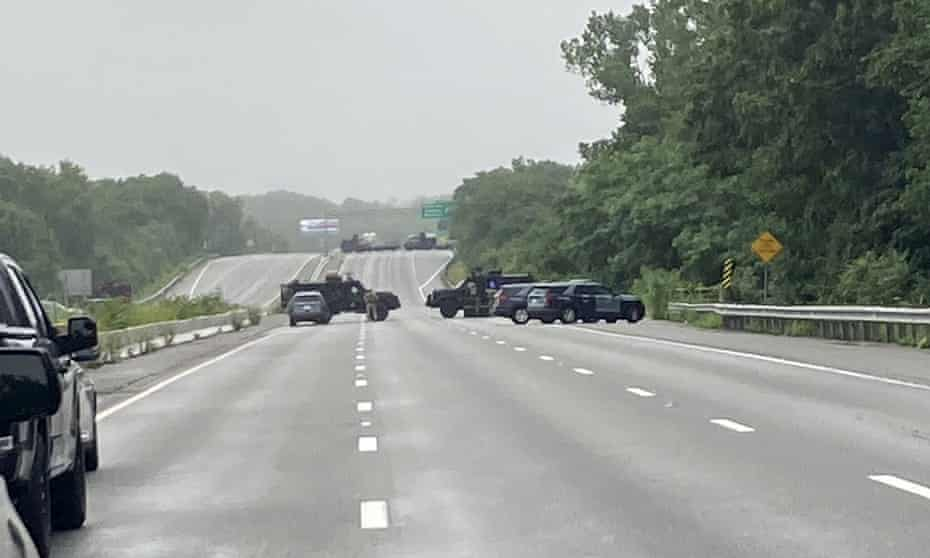 A photo provided by Massachusetts state police shows officers blocking off a section of I-95 near Wakefield on 3 July.
