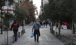 People on the streets in Athens, Greece