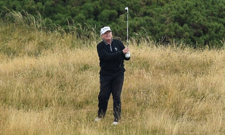 The man suffered a stroke during Trump's visit to his Turnberry golf resort.