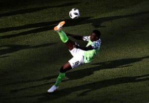 Oghenekaro Etebo of Nigeria performs an overhead kick against Iceland at Volgograd Arena.