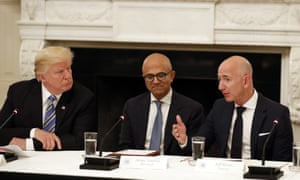 Donald Trump, Microsoft CEO Satya Nadella and Amazon CEO Jeff Bezos. Amazon and Microsoft are battling for a $10bn opportunity to build the US military its first 'war cloud'.