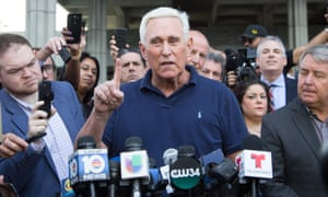 Roger Stone speaks to the media outside court in Fort Lauderdale, Florida on Friday.