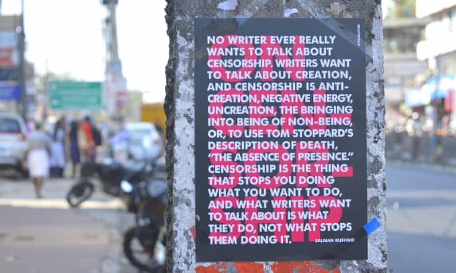 A quote from Salman Rushdie on a StickLit poster on a Bangalore cement pillar.