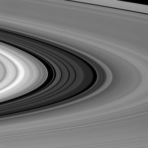 28 January 2016 It's difficult to get a sense of scale when viewing Saturn's rings, but the Cassini Division (seen here between the bright B ring and dimmer A ring) is almost as wide as the planet Mercury. The 4,800km-wide (2,980 miles) division in Saturn's rings is thought to be caused by the moon Mimas. Particles within the division orbit Saturn almost exactly twice for every time that Mimas orbits, leading to a build-up of gravitational nudges from the moon. These repeated interactions sculpt the outer edge of the B ring and keep its particles from drifting into the Cassini Division