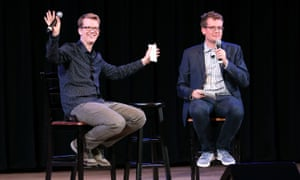 Hank Green with his brother, John Green, speaking about An Absolutely Remarkable Thing in New York last month.