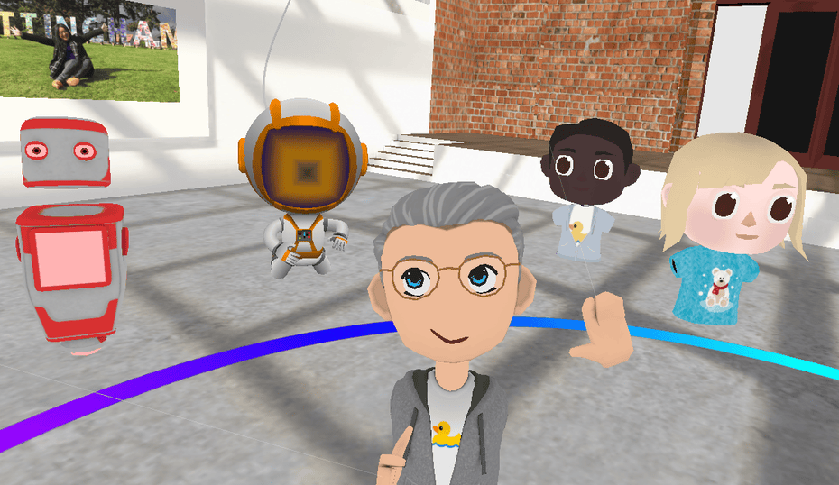 Virtual meeting space Nottopia, set up on Mozilla Hubs by Professor Gary Burnett (in avatar form at front) for his students at Nottingham University
