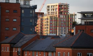 New developments under construction in Salford, Greater Manchester, in 2018.