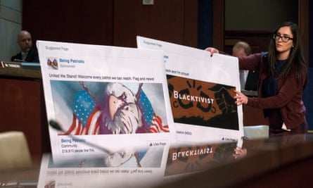 Graphics of Facebook pages created by the Russian troll factory displayed during a House (Select) Intelligence Committee hearing.