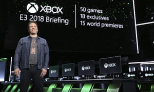 Phil Spencer, head of gaming at Microsoft, onstage at Xbox E3 2018 briefing
