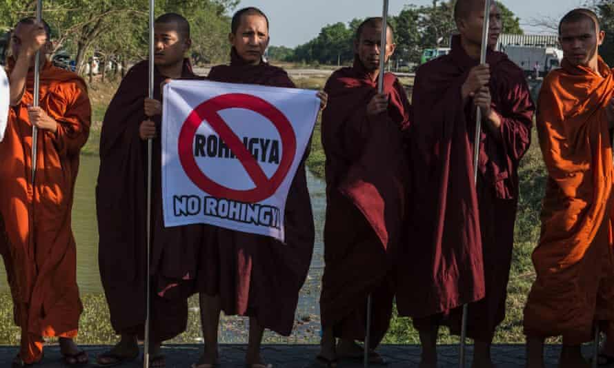 Hardline Buddhist monks rally against Rohingya Muslims in Yangon this year.
