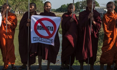Hardline Buddhist monks rally against Rohingya Muslims in Yangon this year.