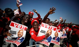 Supporters of Nelson Chamisa at the opposition MDC's final rally.