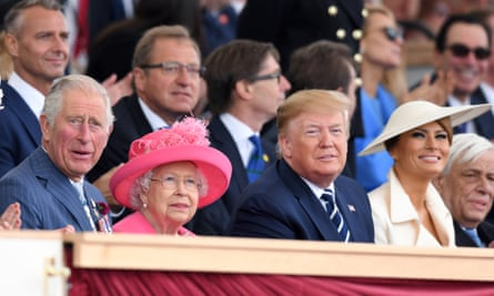 Prince Charles, the Queen, Donald Trump and Melania Trump at the D-day commemoration in Portsmouth