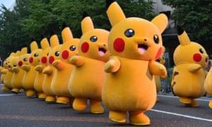 Performers dressed as Pikachu