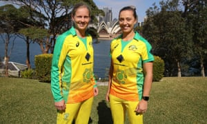 Meg Lanning and Ash Gardner sport the Indigenous designed uniform ahead of their T20 against England in February 2020.