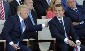'Trump was the guest at France's Bastille Day parade, where he stood at Emmanuel Macron's side and watched tanks, gun trucks and column after column of starchly uniformed soldiers.'