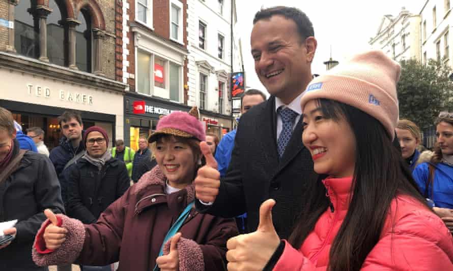 Taoiseach Leo Varadkar poses for a photo with voters on Grafton Street in Dublin