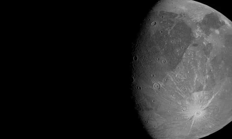 The Jovian moon Ganymede as the Juno spacecraft flies by.