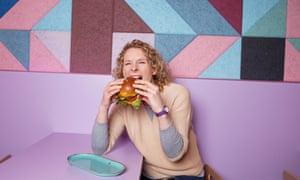 The food writer Bee Wilson enjoys a vegan burger